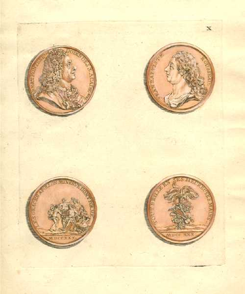 Antique Print of Medallions by Crepy c1755 Plate 10