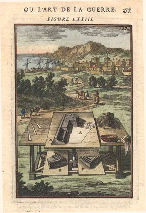 17th century Architectural Engineering. Fortification design models. Mallet Figure 73 c1683