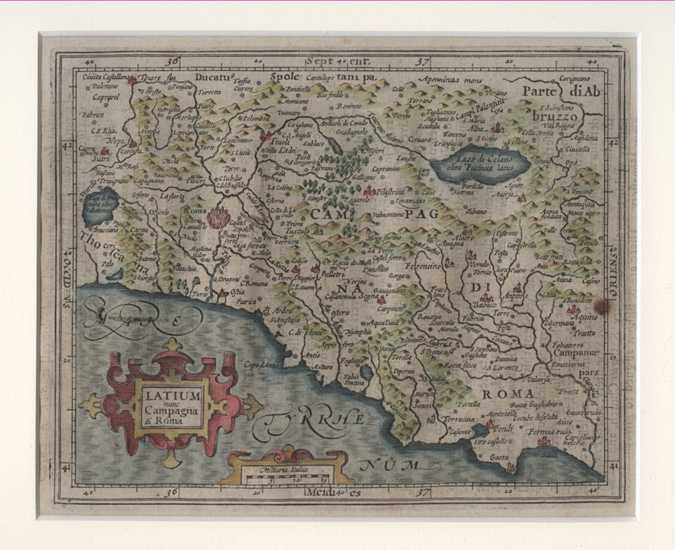 Latium nunc Campana di Roma. Antique Map of the District of Rome c1635