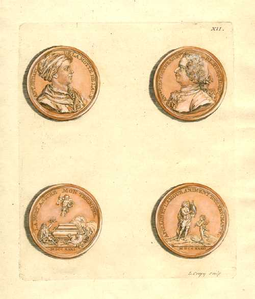 Ancient Medallions. Crepy engraving for Tissot. Ancient coins c1755 Plate 12