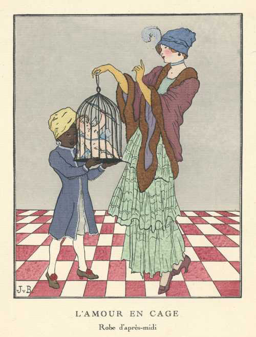 Cupid under control in a cage. L'Amour en cage. c1914.