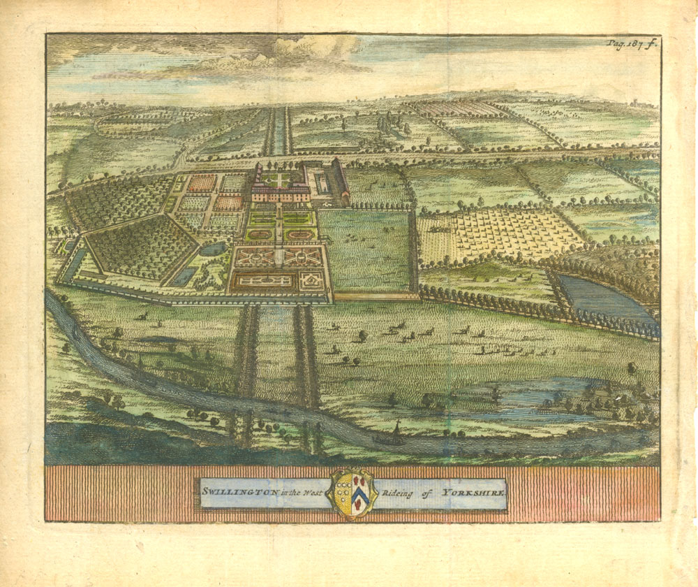 Beeverell antique print of Swillington in the West Rideing of Yorkshire c1727