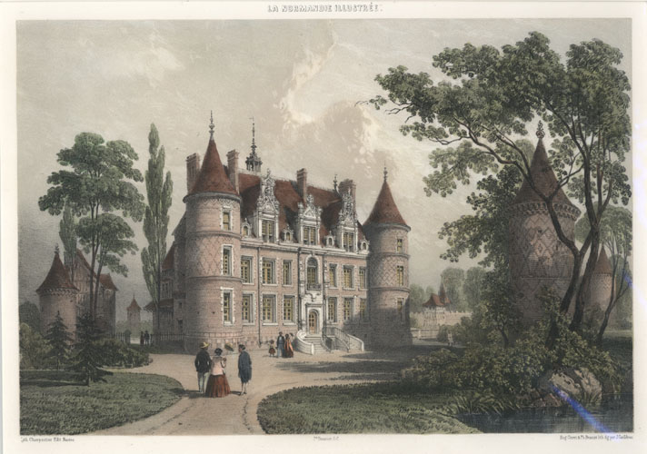 French Chateau de Boissey-Le-Chatel, Eure, Normandy. Lithograph c1860