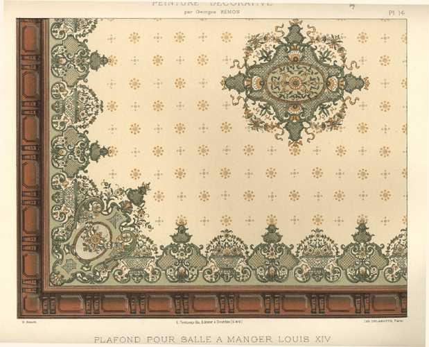 French Decorative Painting. Large Design Print by Remon c1890.j
