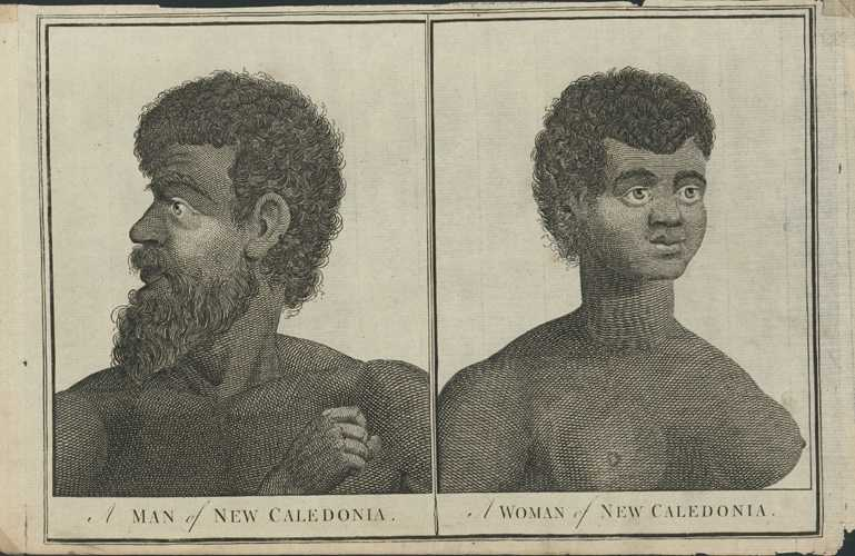 New Caledonia. Man and Woman of New Caledonia. Cook c1784.