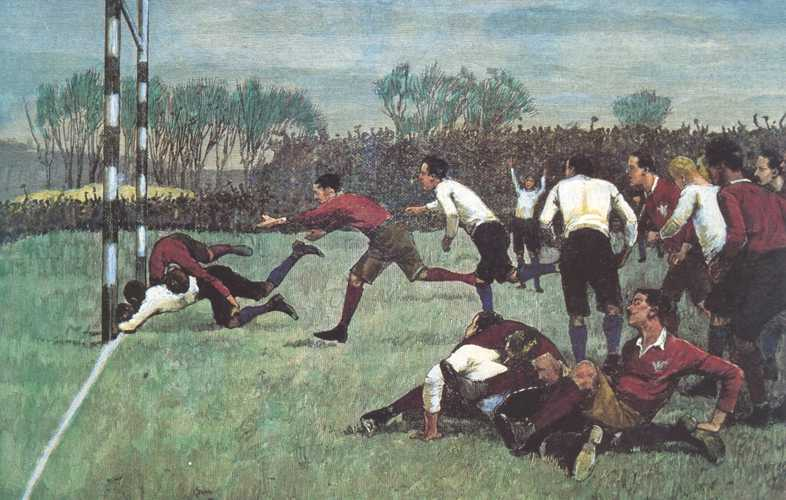 Football Match: England versus Wales. Rugby c1870. Postcard print.