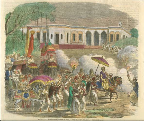 A Mussulman Marriage Process in India. Indian Wedding Procession c1858