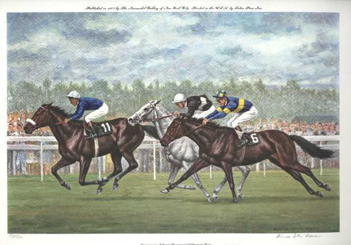 Horse Racing by Richard Stone Reeves. Limited Edition lithograph c1976