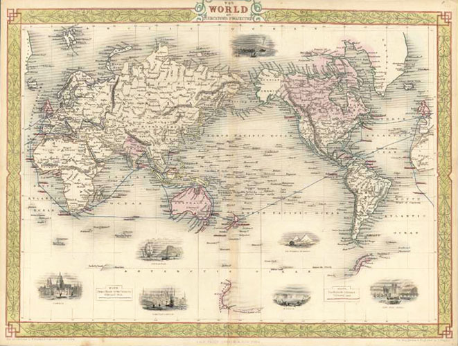 Tallis map. World on Mercators Projection. Antique Map c1851