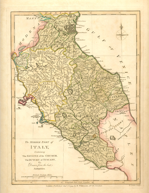 The Middle Part of Italy: Tuscany antique Map. Wilkinson c1794