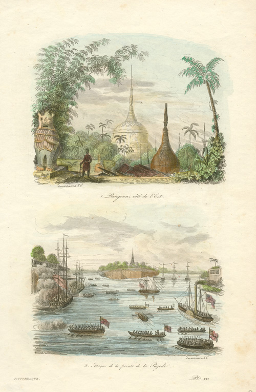 Rangoon, Myanmar east coast. Attack at Pagoda point. c1834.