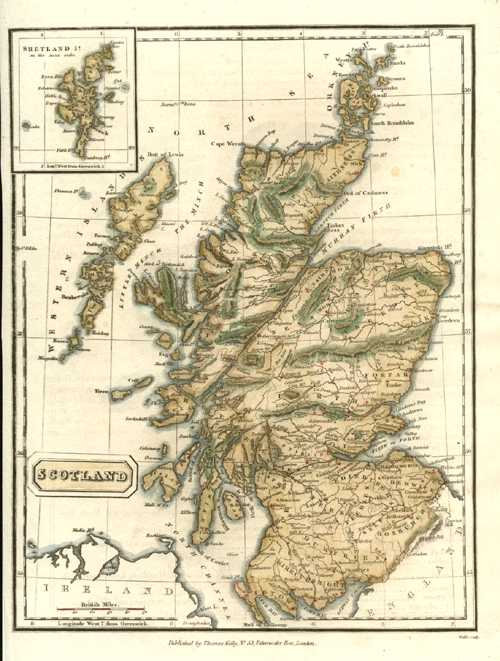 Scotland. Inset of Shetland Isles. Thomas Kelly Antique Map c1810