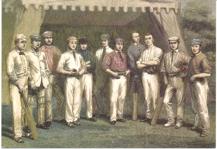 Cricket Team: Surrey Eleven. Postcard of England Team c1861