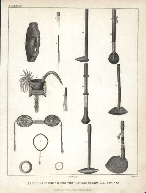 New Caledonia. Articles.. Savages of New Caledonia. c1800