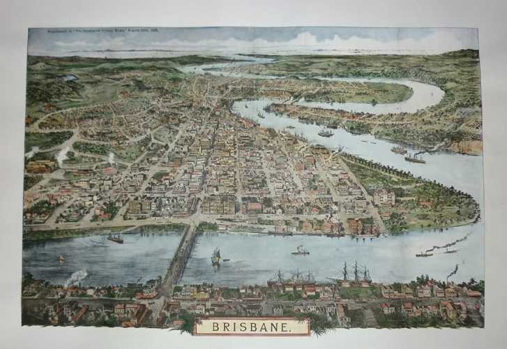 Brisbane in 1888. Large hand-coloured print from Clarson lithograph c1888.