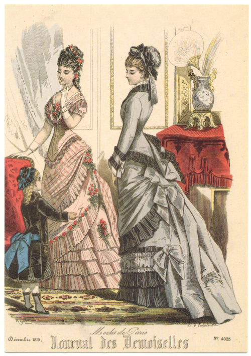 19th century Paris Fashions. Journal des Demoiselles reproduction