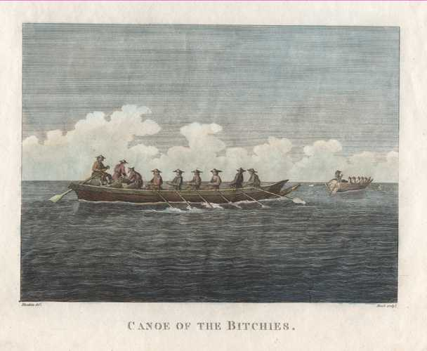 Russia. Canoe of the Bitchies, Gulf of Tartary. LaPerouse, c1798