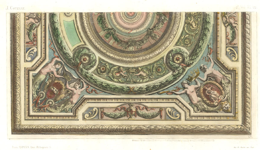 Ceiling designed by Cotelle. Rapilly antique print c1863.