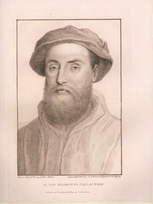 Holbein portrait of Sir William Sherington engraved by Bartolozzi c1795