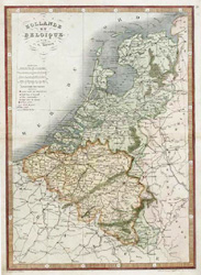 Hollande et Belgique. Holland and Belgium antique map by Monin, c1838.