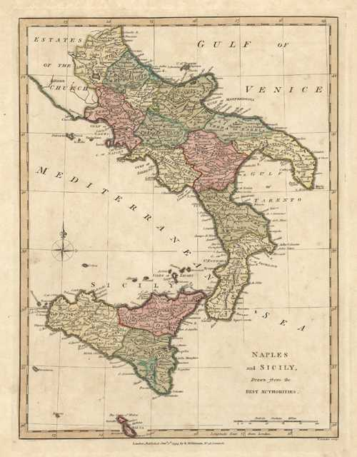 Naples & Sicily Drawn from the Best Authorities. Italy c1794
