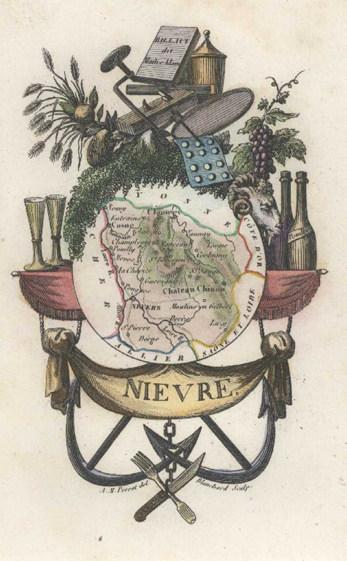 Nievre Department of France Miniature Antique Map. Perrot c1834