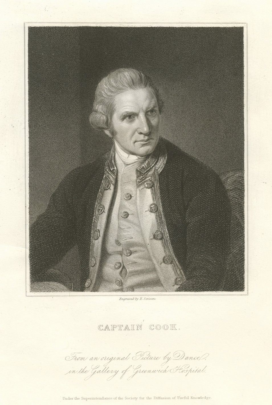 Captain Cook. From an original picture by Dance. Engraved by E. Scriven. c1840