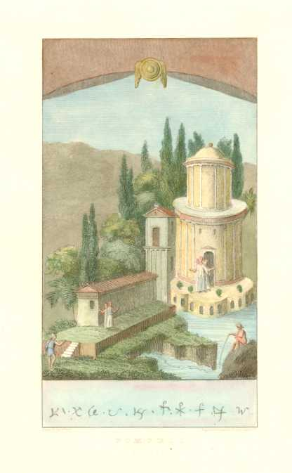 Pompeii Classical Building with People pre-AD79. Antique Print c1817