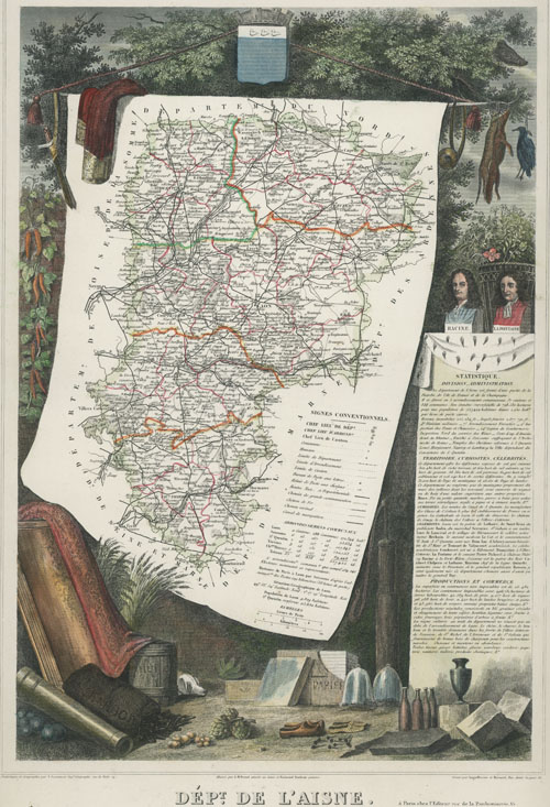 French Department of Aisne antique map. Levasseur map c1847