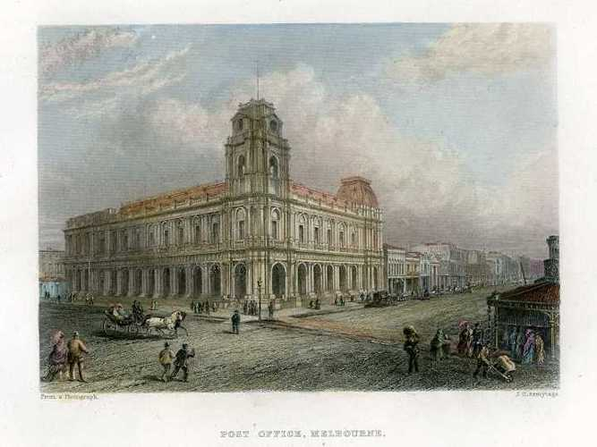 Post Office, Melbourne. Engraving after Nicholas Chevalier, c1874.