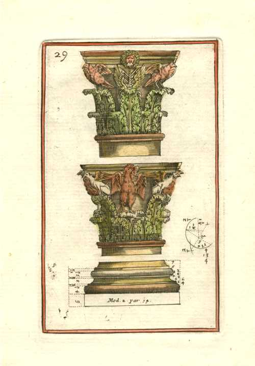 Vignola Architectural engraving of two Corinthian capitals, c1764