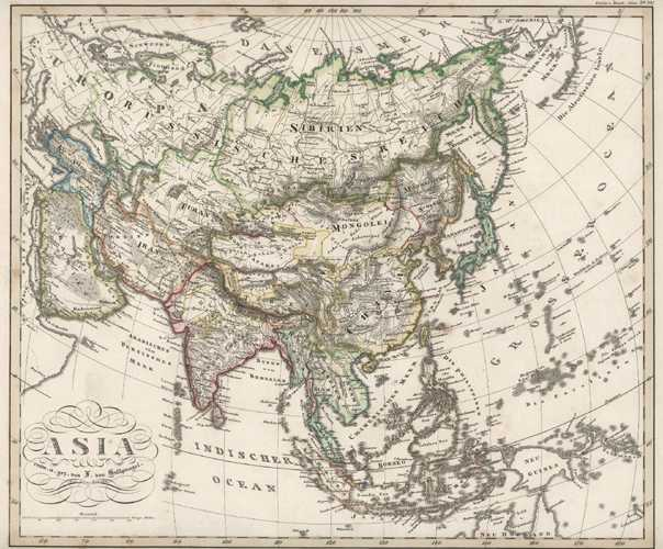 Asia Antique Map engraved by Stulpnagel for Stieler c1846