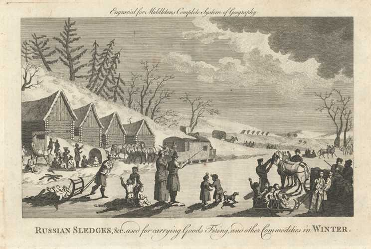 Russian Sledges antique print. Carrying Goods in Winter. Russia. Middleton c1777