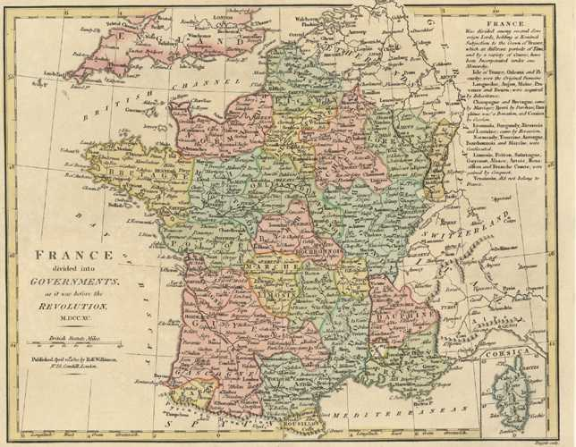 France divided into Governments before French Revolution Antique Map. Wilkinson c1810