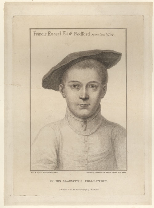 Holbein portrait of young Francis Russell, Earl of Bedford. Bartolozzi c1796
