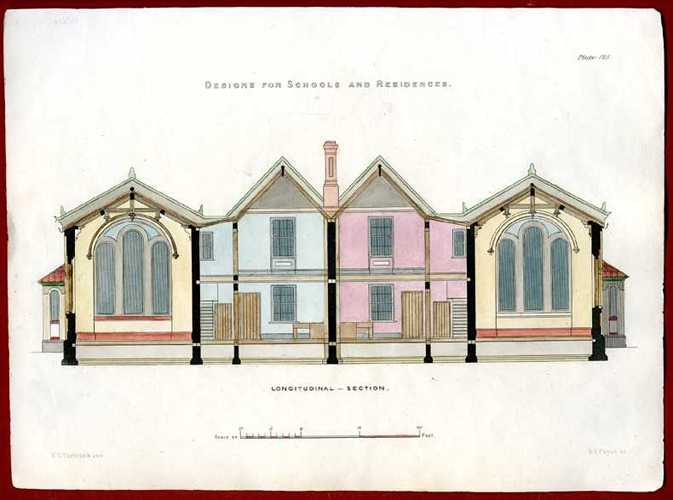 English Architectural Design for Schools and Residences. Antique Engraving c1850