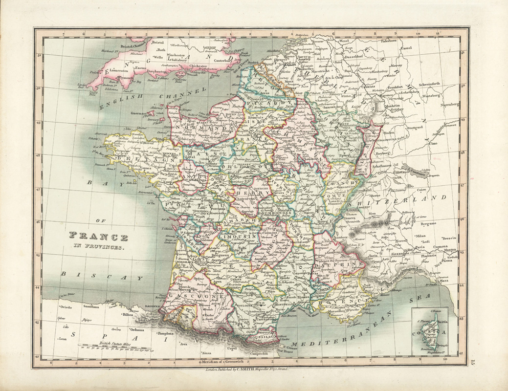 Beautiful antique map of France in Provinces. C.Smith c1836.