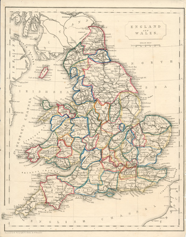 England and Wales engraved by the Omnigraph. Becker antique map c1848