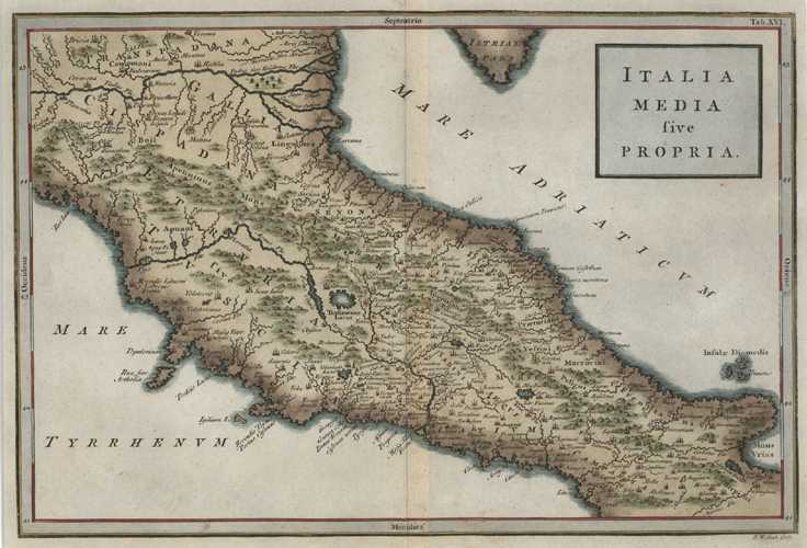 Italy media sive propria. 1755 Map of Antique Geography