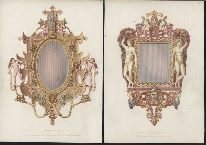French and English Ornate Mirrors. 2 engravings. Enry Shaw c1834