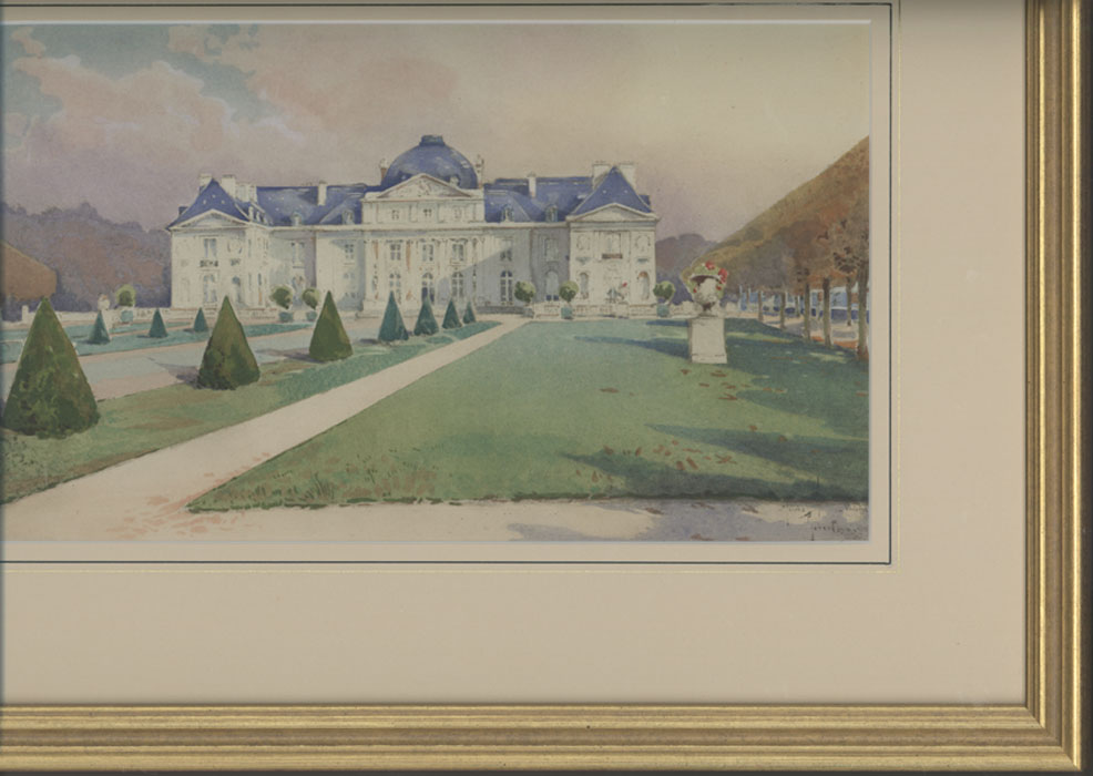 French watercolour, 1912. Chateau de Voisins, unknown artist. Framed.