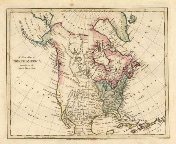 A New Map of North America with Latest Discoveries. Robert Wilkinson c1794