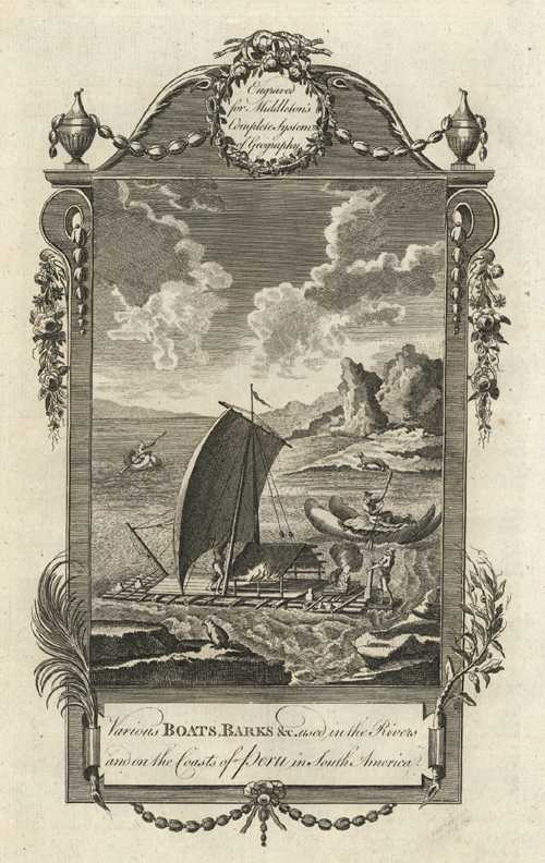 Peru antique print. Various Boats, Barks &c. used in Peru. Middleton c1777