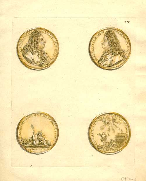 Ancient Coins commemorating King's musicians. Crepy engraving. Tissot c1755. Plate 9