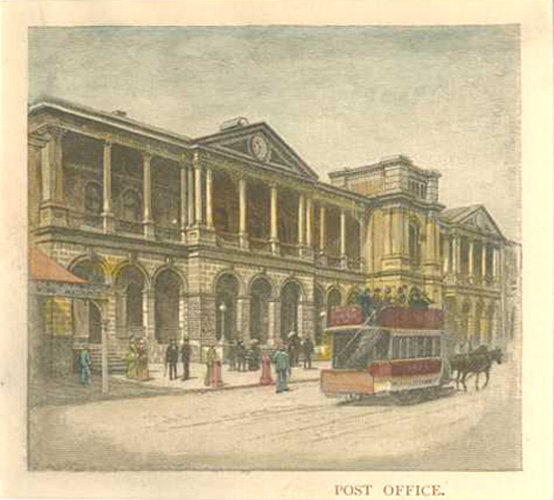 Brisbane Post Office with horse-drawn double-decker bus c1886