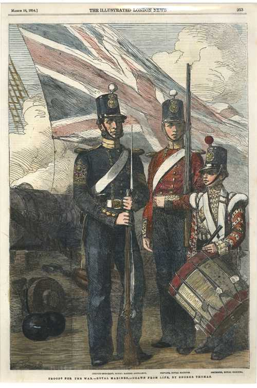 Troops for Crimean War. Royal Marines. London News engraving c1854