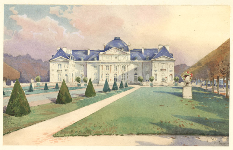 French watercolour, 1912, unknown artist. Chateau de Voisins with formal gardens.