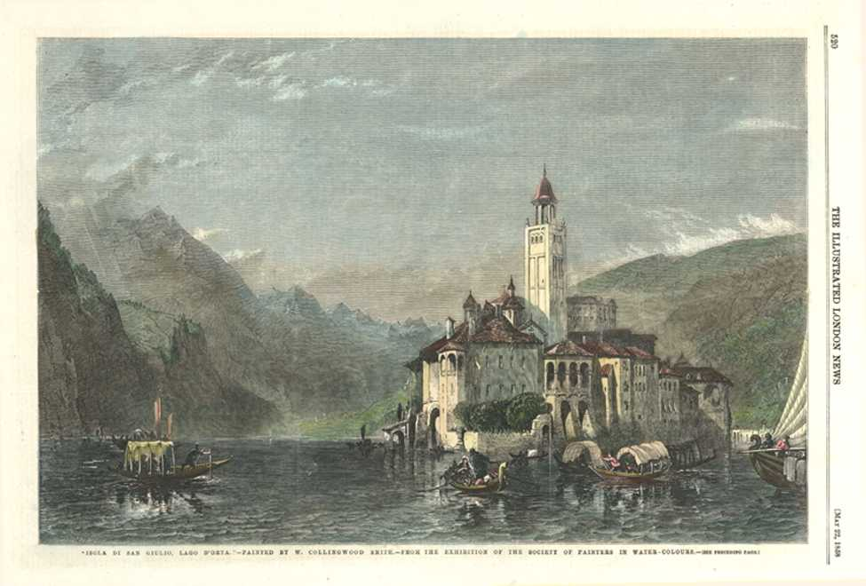 Italy antique print. Isola di San Giulio, Lago d'Orta. Collingwood Smith. c1858