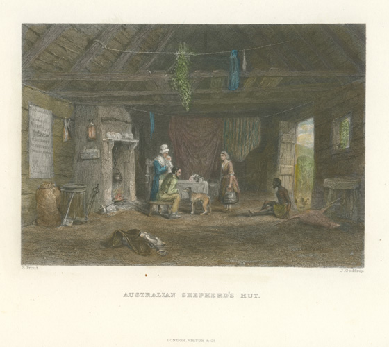 Australian Shepherd's Hut engraving by Godfrey after Skinner Prout. c1874