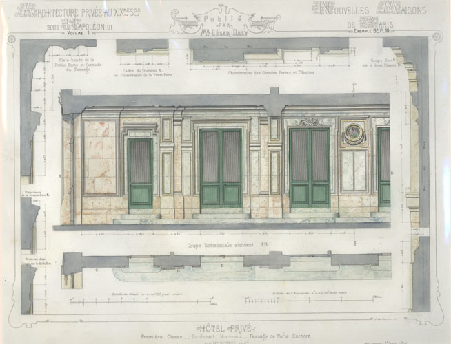 Cesar Daly architectural engraving c1864 of French Private Hotel.
